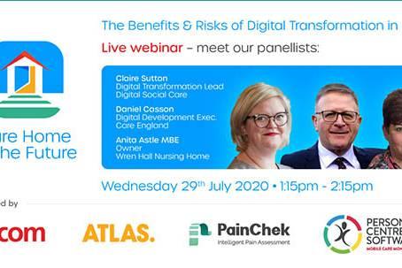 The Benefits & Risks of Digital Transformation in Care webinar banner